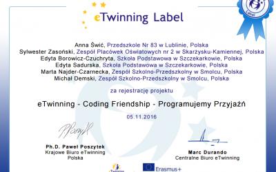 Rozpoczynamy projekt eTwinning – Programujemy Przyjaźń