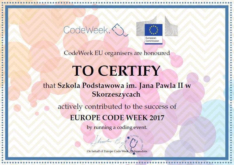 Nasza Inicjatywa w ramach CODEWEEK została wyróżniona.